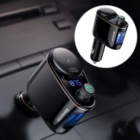 Baseus Chargeur de voiture Wireless Bluetooth V4.2 Transmetteur FM Lecteur MP3 3.4A Double chargeur de voiture USB, Support U...